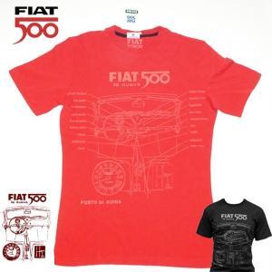 【メール便可】 FIAT500 フィアット メンズ Tシャツ Lサイズ RED  FITS42 バイク スクーターおしゃれ|a-oluolu
