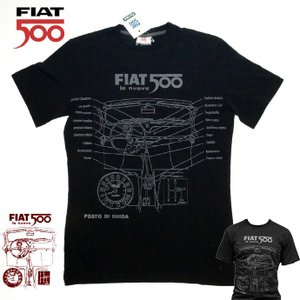 【メール便可】 FIAT500 フィアット メンズ Tシャツ Lサイズ BLACK  FITS52 バイク スクーターおしゃれ|a-oluolu