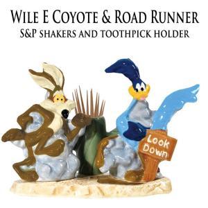 ワイリーコヨーテ & ロードランナー 調味料容器 Wile E Coyote Toothpick Holder Salt & Pepper Shakers Set a-oluolu