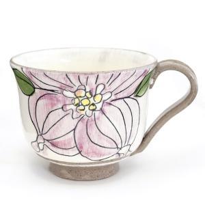 信楽焼き 冨増彰良作 手書き マグカップ ハナミヅキ 紫 陶器 a-oluolu