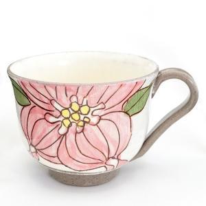 信楽焼き 冨増彰良作 手書き マグカップ ハナミヅキ ピンク a-oluolu