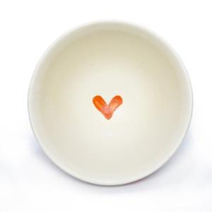 信楽焼き 冨増彰良作 手書き 茶碗 ハート 赤 陶器|a-oluolu|03
