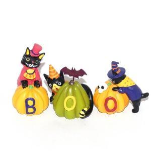ハロウィン 雑貨 おしゃれ 置物 飾り バンパイアキャットトリオ 3点セット 猫グッズ|a-oluolu