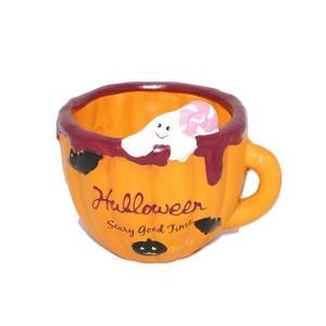 ハロウィン 雑貨 おしゃれ 置物  植木鉢 ゴーストキャンディーカップポット|a-oluolu