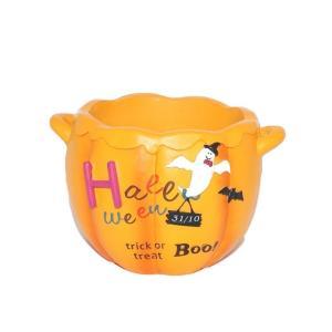 ハロウィン 雑貨 おしゃれ 置物 植木鉢 ゴーストフライパンプキンポットM|a-oluolu