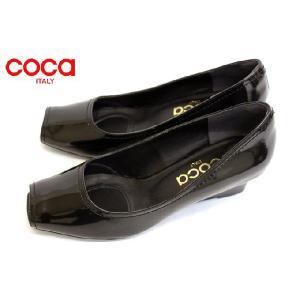 coca  オープントウ co 102012 ウエッジソール エナメル パンプス ブラック |a-one1