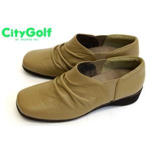 City Golf by madras GFL6540 幅広 3E らくちん 本革 軽量 カジュアル スリッポン オーク|a-one1