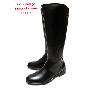 missy madras MMD8743 シンプルデザイン ストレッチバックゴム 本革 ロングブーツ ブラック|a-one1
