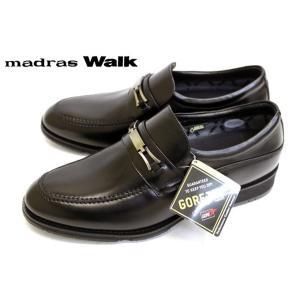 madras Walk MW5504 完全防水 GORE-TEX ビットローファー 幅広 スリッポン ブラック|a-one1