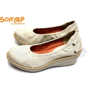 SOFT STEP by madras パンチメッシュ SSL161 らくちん コンフォート ウエッジソール パンプス アイボリー|a-one1