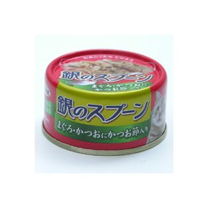 ねこ元気 銀のスプーン 缶 80g まぐろ・かつおに かつお節入り|a-pet