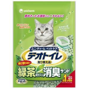 ユニチャーム 1週間消臭・抗菌デオトイレ 飛び散らない緑茶成分入り・消臭サンド 2L |a-pet
