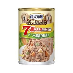 愛犬元気 缶 味わいと健康プラス 7歳以上用 ビーフ&緑黄色野菜入り 375g|a-pet
