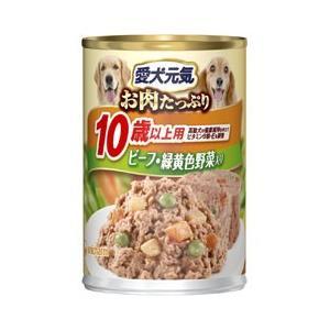 愛犬元気缶 10歳からの長寿犬用 ビーフ&緑黄色野菜入り 375g |a-pet