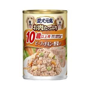 愛犬元気缶 10歳からの長寿犬用 ビーフ&チキン・野菜 375g |a-pet