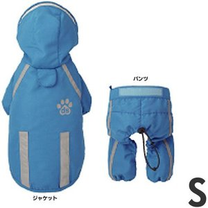 [P]doggy shake 犬用レインコート 足跡セットアップ レインジャケット RC2322 ブルー S |a-pet
