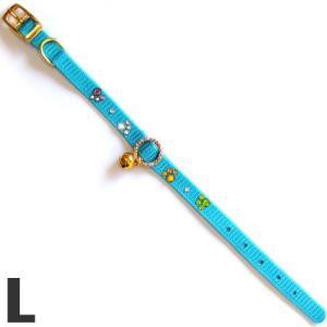 岡野製作所 猫用首輪 ナイロンストーンカラー L ON549 ブルー |a-pet