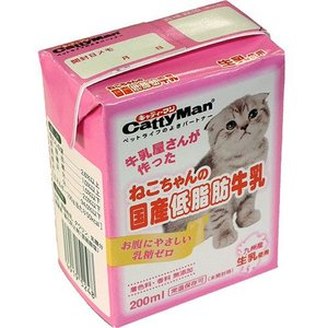ドギーマンハヤシ キャティーマン 猫用ミルク ねこちゃんの国産低脂肪牛乳 200ml |a-pet