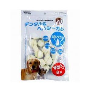 ペットプロジャパン 犬用おやつ デンタル&ヘルシーガム ミルクガム 骨型 ミニ 8本|a-pet