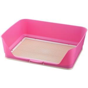 リッチェル 犬用トイレトレー しつけ用ステップ壁付きトイレ ワイド ピンク |a-pet