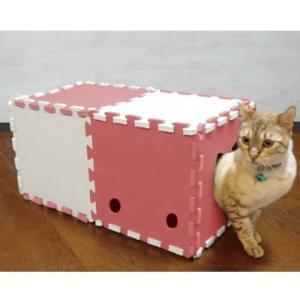 明和グラビア 猫用おもちゃ 組み立て式 ねこトンネル NT-02 アイボリー×ピンク 10枚入り |a-pet