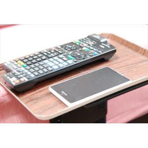ベッドサイドテーブル「りもて」(スマホ、リモコン、文庫本用)濃い木目(小サイズ)ベッドと同じに、高さ合わせ調節可能。暗やみOK、こぼれ止め付きベッド棚。|a-pi|04