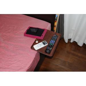 「リモて」濃い木目(小サイズ)【ティッシュBOX付き】(ベッド用サイドテーブル) a-pi 02