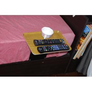 ベッドサイドテーブル「りもて」(スマホ、リモコン、文庫本用)うすい木目(小サイズ)ベッドと同じに、高さ合わせ調節可能。暗やみOK、こぼれ止め付きベッド棚。|a-pi|09