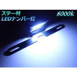 バイク用8000k青白色LEDナンバー灯・ライセンスランプ/ステー付|a-rianet