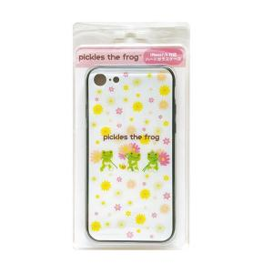 かえるのピクルス iPhoneハードガラスケース flowers ホワイト|a-works-shop
