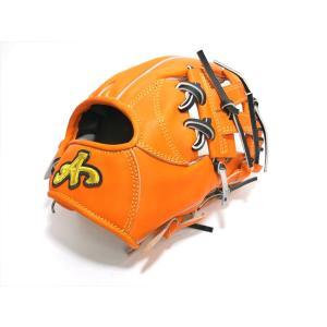 野球 ブランドA BrandA 硬式軟式兼用グラブ 内野手用 906C46C 右投用 オレンジ×ブラック 約28.5cm 【型付け無料】 a27baseball