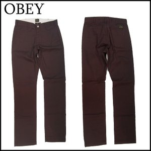 OBEY チノパンツ オベイ GOOD TIMES PANT SLIM FIT BROWN ブラウン|a2b-web