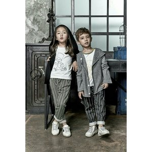 セール中   送料無料!! 韓国子供服 ストライプテーパードパンツ ブラック カーキの2色 |aaahouse
