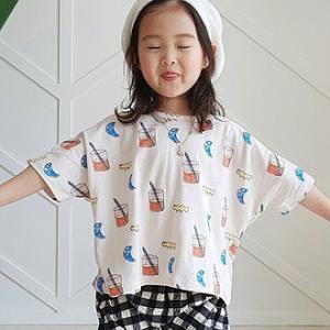 子供服 可愛い 送料無料  韓国子供服 春新商品 ジュースTシャツ お揃いコーデ 90cm/100cm/110cm/120cm/130cm|aaahouse