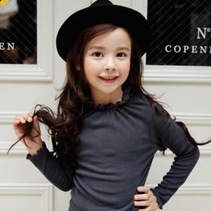 送料無料  韓国子供服 シンプルネイビートップス 女の子 キッズ ジュニア  90cm 100cm 110cm 120cm 130cm|aaahouse