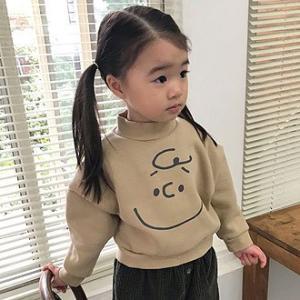 韓国子供服 ブラウン顔 裏起毛トレーナー ドルマン風デザイン|aaahouse