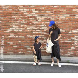 韓国ファッション 韓国子供服 親子お揃い お揃いコーデ ブラック ロングワンピース 90cm/100cm/110cm/120cm|aaahouse
