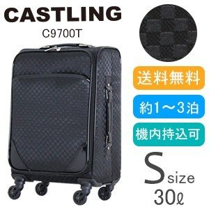 スーツケース ソフト キャリーバッグ Sサイズ 機内持込 小型 チェック TSAロック南京錠 キャリーケース CASTLING C9700T-46|aaminano