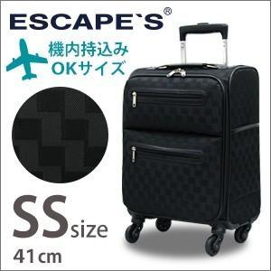 スーツケース ソフト キャリーバッグ SSサイズ 機内持込  小型 TSAロック チェック柄 キャリーケース ESCAPE'S C9711T-41|aaminano