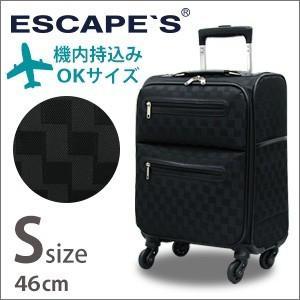 スーツケース ソフト キャリーバッグ Sサイズ 小型 TSAロック チェック柄 機内持込 キャリーケース ESCAPE'S C9711T-46|aaminano