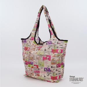 エコバッグ Mサイズ 折りたたみ レディース コンパクト おしゃれ キャラクター 買い物袋 カバン スヌーピー シフレ ECO0120-PN aaminano