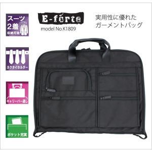 ガーメントバッグ ポケット充実 スーツ2着収納可能 ネクタイホルダー キャリーバー通し ビジネスバッグ ブリーフケース E-forte イーフォルテ K1809 aaminano