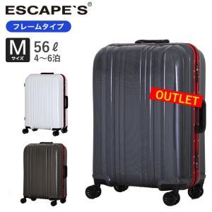 50%OFF アウトレット スーツケース Mサイズ フレームタイプ 頑丈 約4〜6泊向き TSAロック付 双輪キャスター 1年保証付 ESC1046-57 aaminano