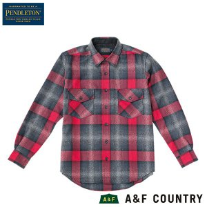 ペンドルトン PENDLETON ガイドシャツ ジャパンフィット HA438 ブラックグレーミックスレッドオンブレ 送料無料 ウール製品 日本正規商品|aandfshop