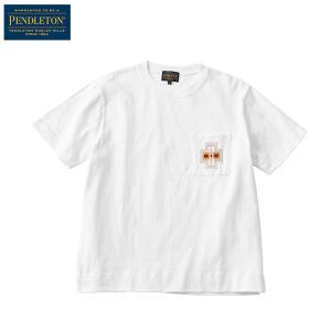 ペンドルトン PENDLETON Ms ショートスリーブエンブロイデットピグメントTシャツ ホワイトハーディング|aandfshop