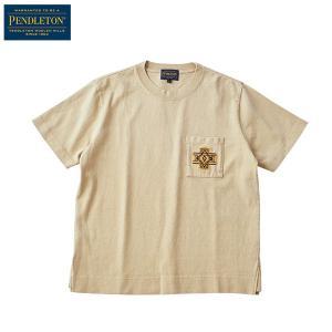ペンドルトン PENDLETON Ms ショートスリーブエンブロイデットピグメントTシャツ ベージュオーバーオール|aandfshop