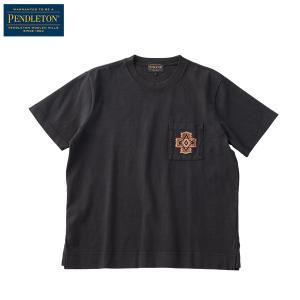 ペンドルトン PENDLETON Ms ショートスリーブエンブロイデットピグメントTシャツ ブラックオーバーオール|aandfshop