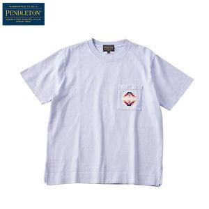 ペンドルトン PENDLETON Ms ショートスリーブエンブロイデットピグメントTシャツ サックスツーソン|aandfshop