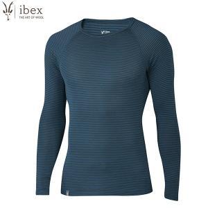 ibex アイベックス Ms ウーリーズ1クルー ストライプ ナイロンコアモデル ツンドラ/ベイベリーストライプ|aandfshop