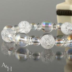 ボタン水晶 天然石ブレスレット クラック水晶 パワーストーン ブレスレッド|aandh